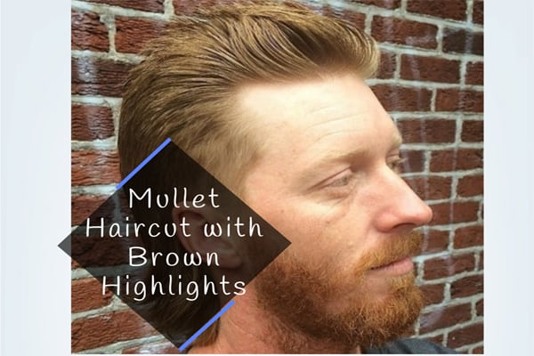 Mullet Haircut with Brown Highlights
