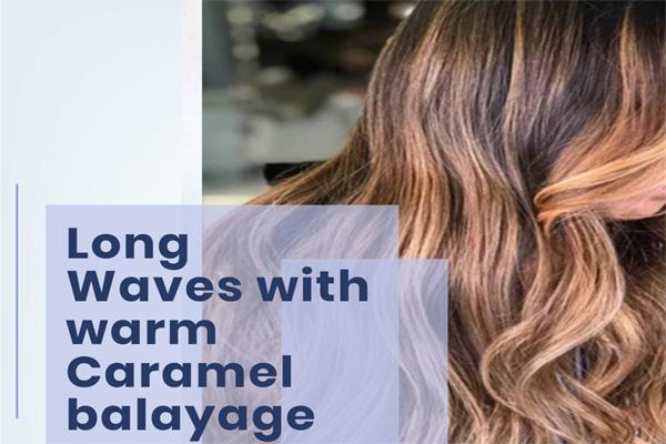 Long Waves with warm Caramel balayage