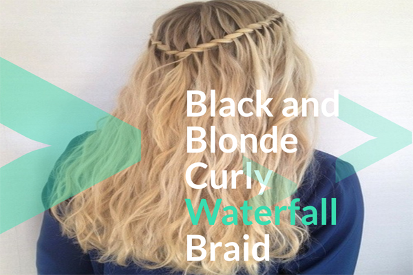 Black and Blonde Curly Waterfall Braid