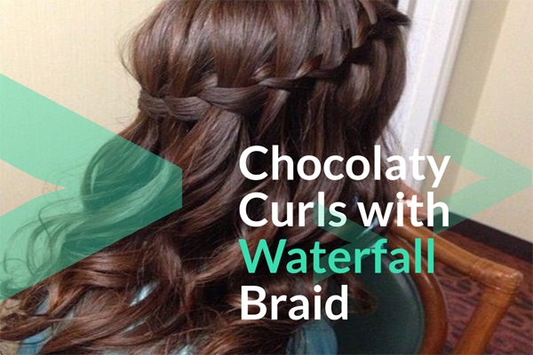 Chocolaty Curls with Waterfall Braid