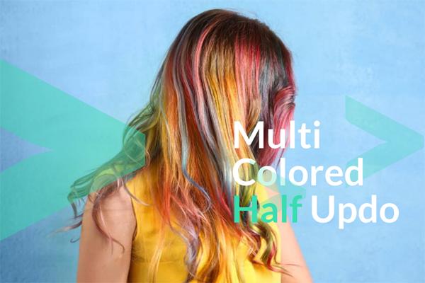 Multi Colored Half Updo