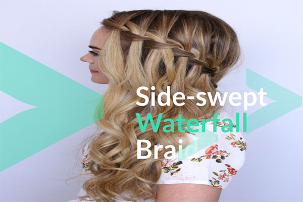 Side-swept Waterfall Braid