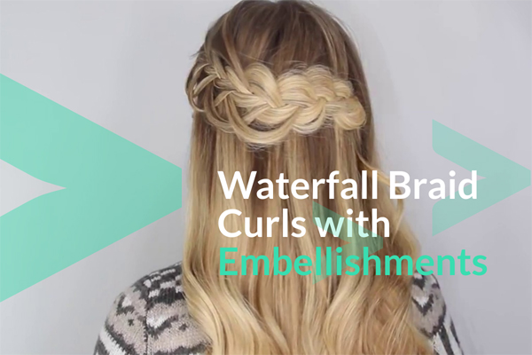 Waterfall Braid Curls with Embellishments