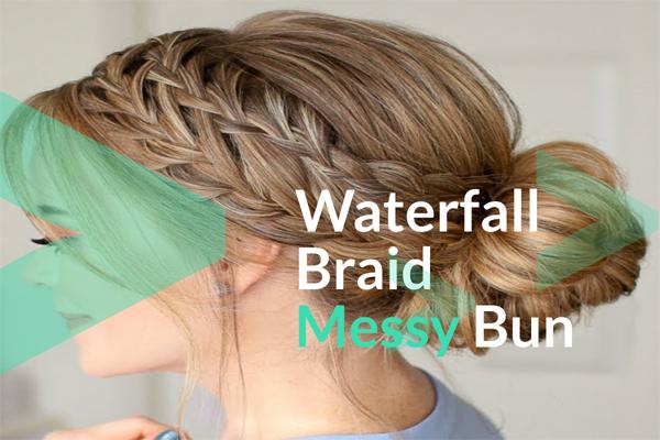 Waterfall Braid Messy Bun