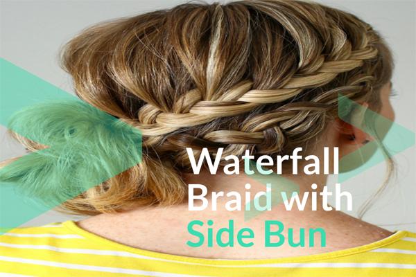 Waterfall Braid with Side Bun