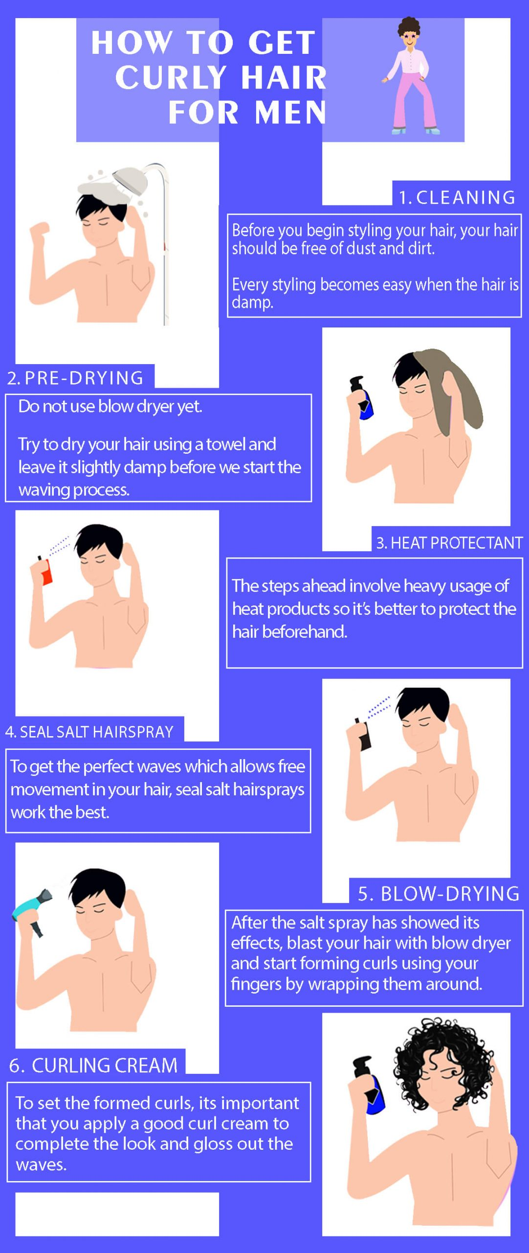 How to get curly hair for men – Step by Step Process